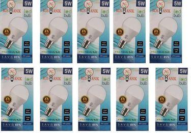 Roshanik 5W Round B22 LED Bulb (White, Pack of 10) Price in India
