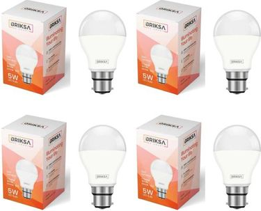 BRIKSA 5W Round B22 LED Bulb (White, Pack of 4) Price in India