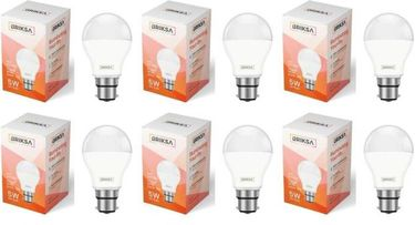 BRIKSA 5W Round B22 LED Bulb (White, Pack of 6) Price in India