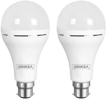 BRIKSA 9W Round B22 Inverter Bulb (White, Pack of 2) Price in India