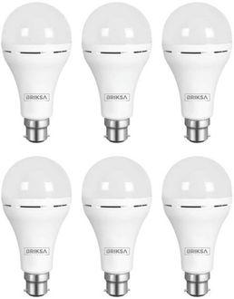 BRIKSA 9W Round B22 Inverter Bulb (White, Pack of 6) Price in India