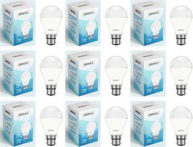 BRIKSA 7W Round B22 LED Bulb (White, Pack of 9) Price in India