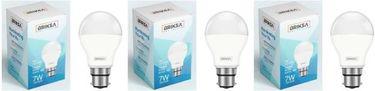 BRIKSA 7W Round B22 LED Bulb (White, Pack of 3) Price in India