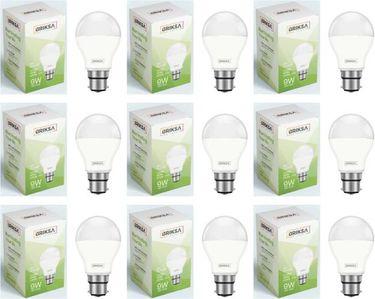BRIKSA 9W Round B22 LED Bulb (White, Pack of 9) Price in India