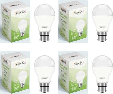 BRIKSA 9W Round B22 LED Bulb (White, Pack of 4) Price in India