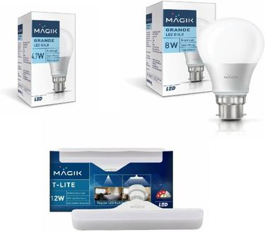 Magik 4.7W, 8W, 12W Round B22 LED Bulb (White, Pack of 3) Price in India