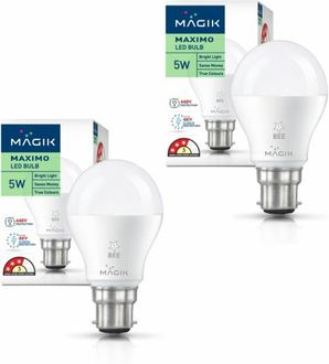 Magik 5W Round E27 LED Bulb (White, Pack of 2) Price in India
