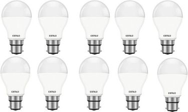 Estilo 9W Standard B22 LED Bulb (White, Pack of 10) Price in India