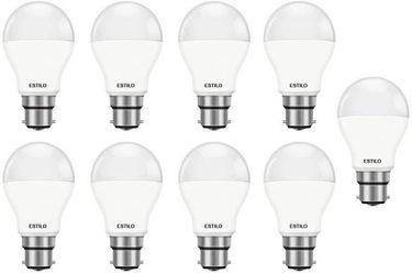 Estilo 9W Standard B22 LED Bulb (White, Pack of 9) Price in India
