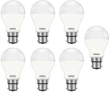 Estilo 9W Standard B22 LED Bulb (White, Pack of 7) Price in India