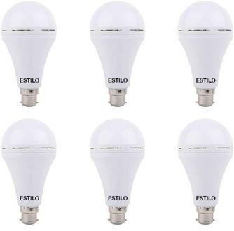 Estilo 9W Round B22 Inverter Bulb (White, Pack of 6) Price in India
