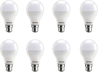 Estilo 12W Round B22 LED Bulb (White, Pack of 8) Price in India