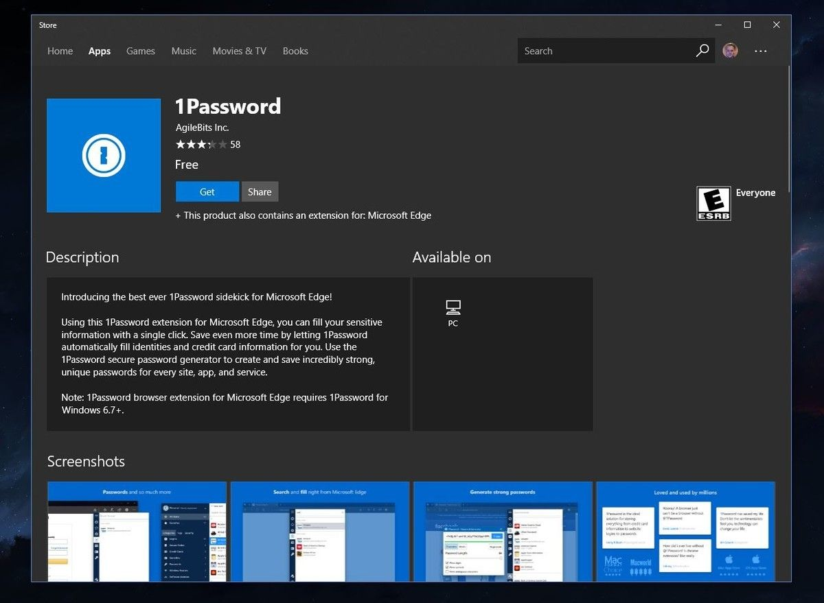 1Password Microsoft Edge Extension