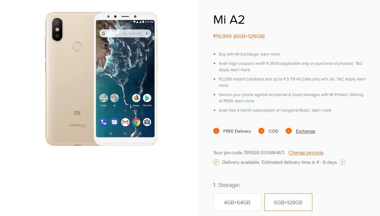 Xiaomi Mi A2 6GB+128GB Variant Listed on Mi India Online