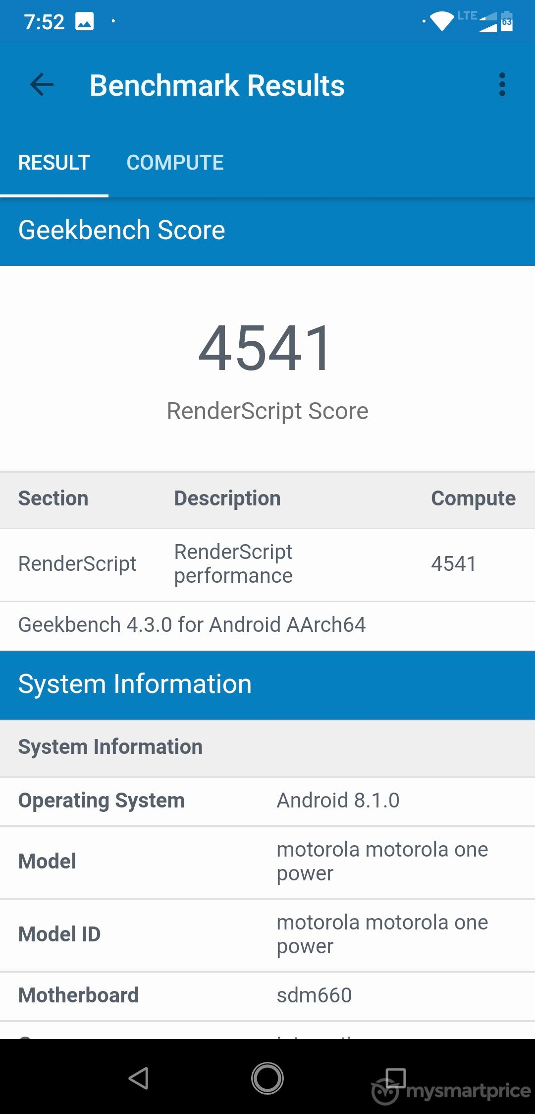 Motorola Moto One Power GeekBench - Compute Benchmark