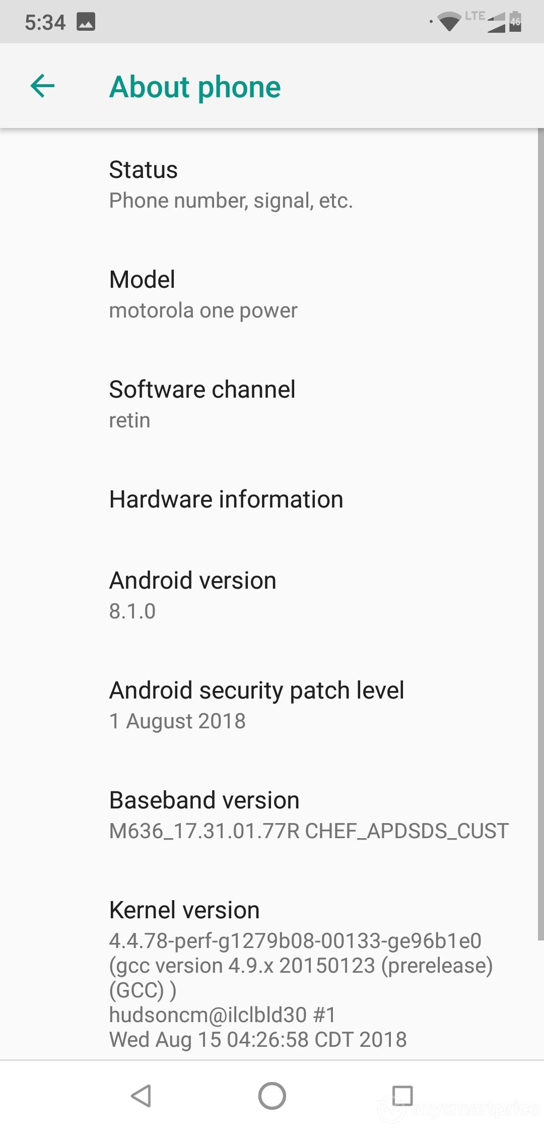 Motorola One Power UI Design (Settings - About Phone)
