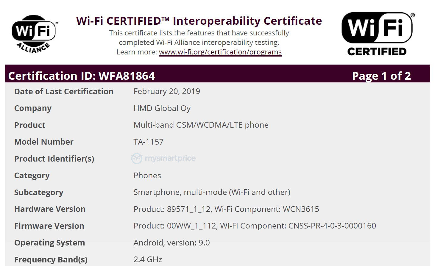Nokia 3 2 (TA-1157) Gets Certified by Wi-Fi Alliance Ahead
