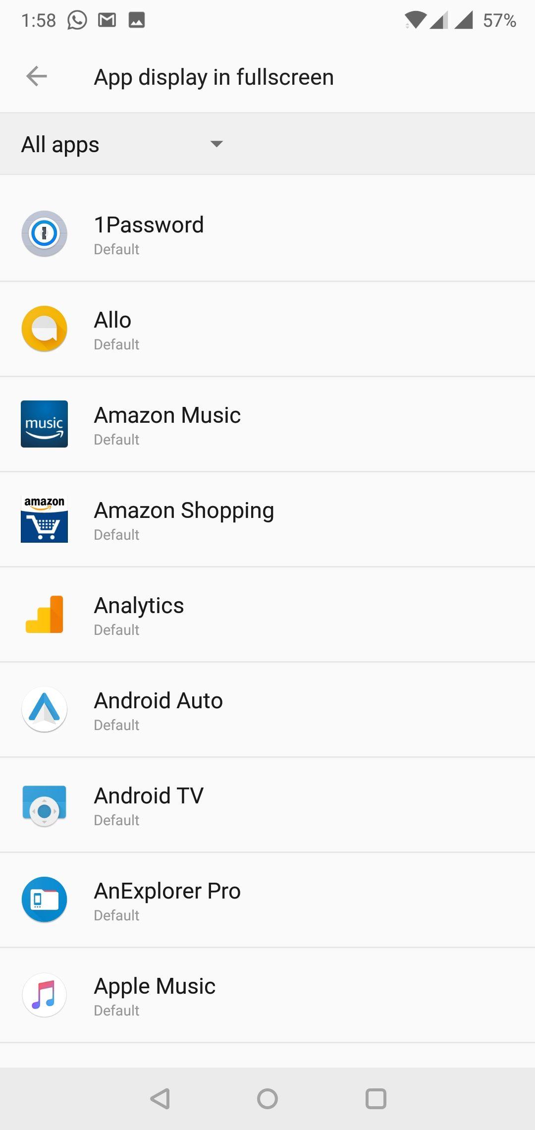OnePlus 6 App Fullscreen Settings