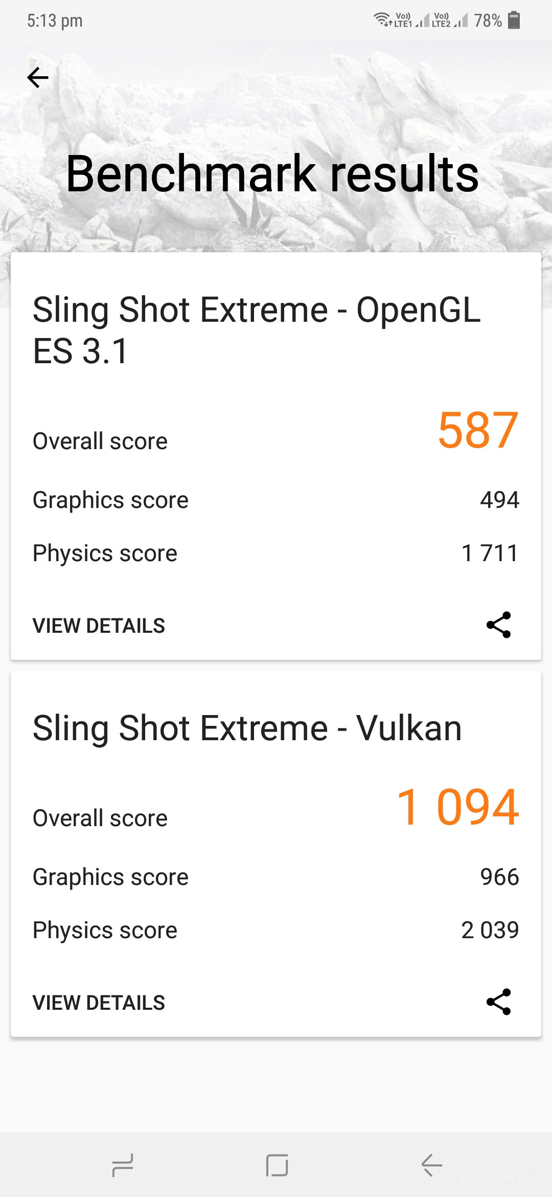 Samsung Galaxy M30 Review - Performance Benchmark (3D Mark Sling Shot Extreme)