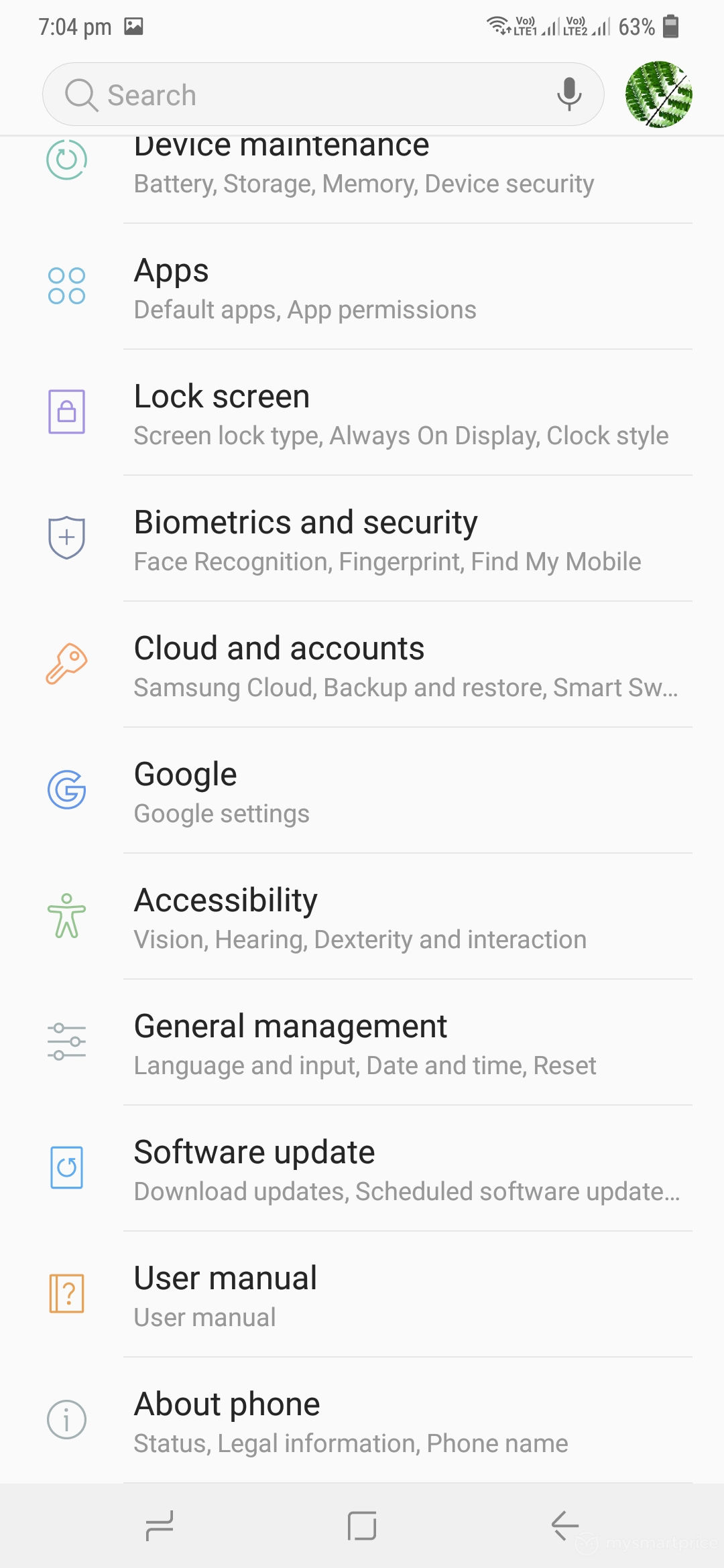 Samsung Galaxy M30 Review - UI Design 18 (Settings Page 02)