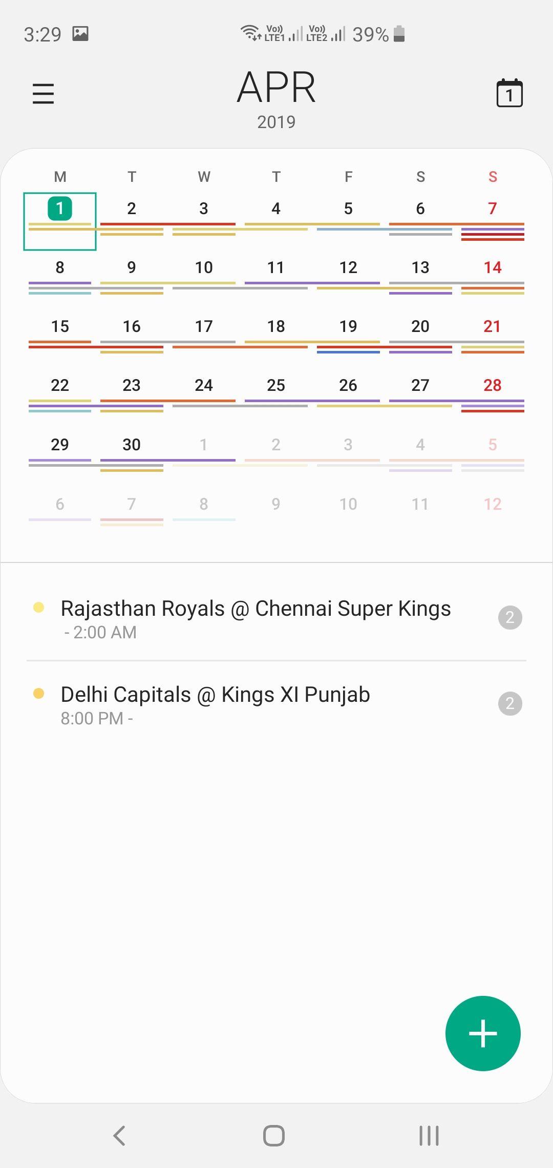 Samsung Galaxy S10+ Calendar App Month View