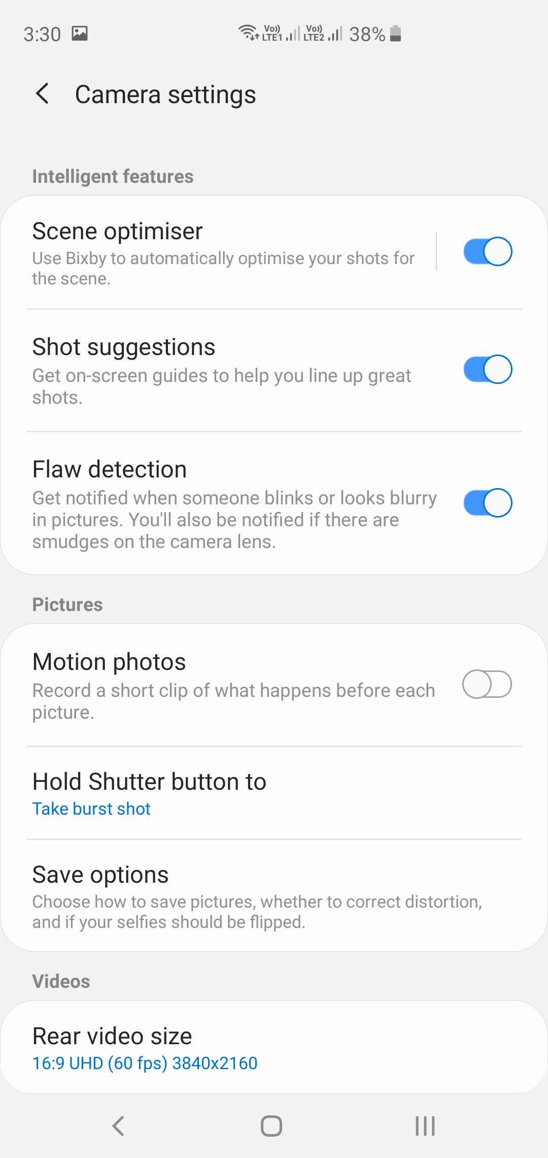 Samsung Galaxy S10+ Camera App Settings