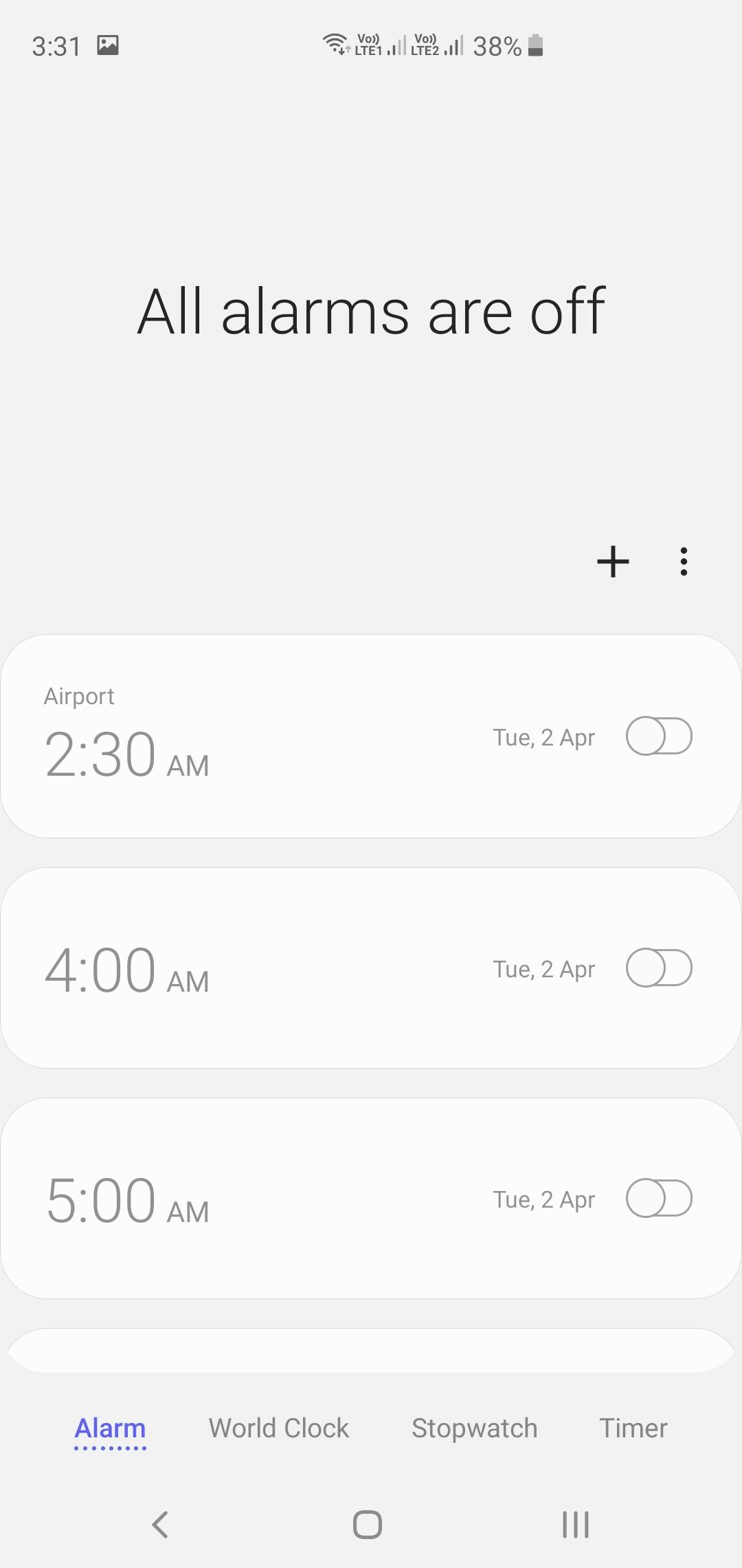 Samsung Galaxy S10+ Clock App Alarms