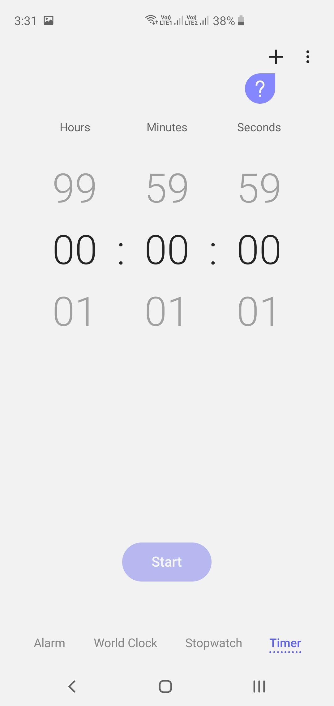 Samsung Galaxy S10+ Clock App Timer