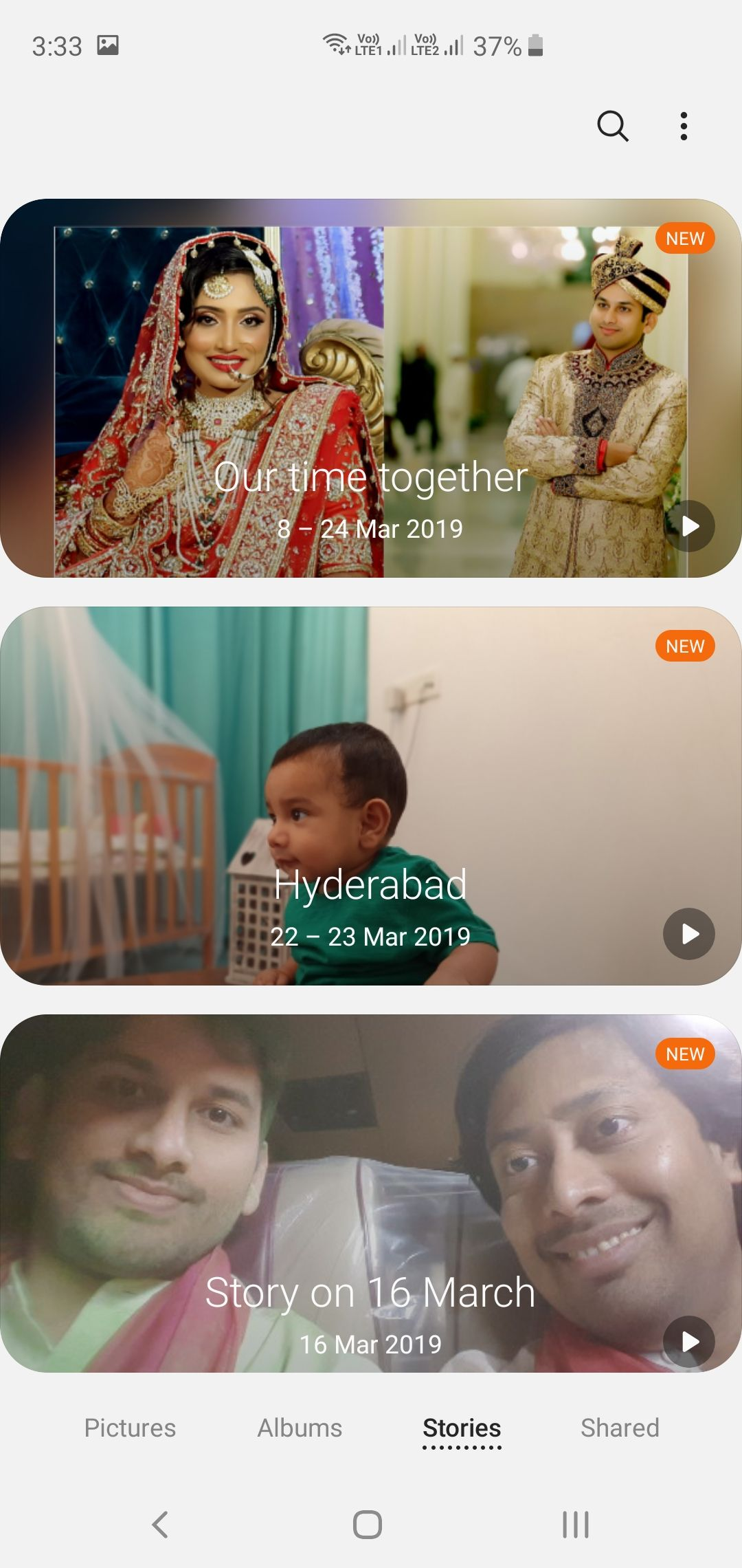 Samsung Galaxy S10+ Gallery App Stories View