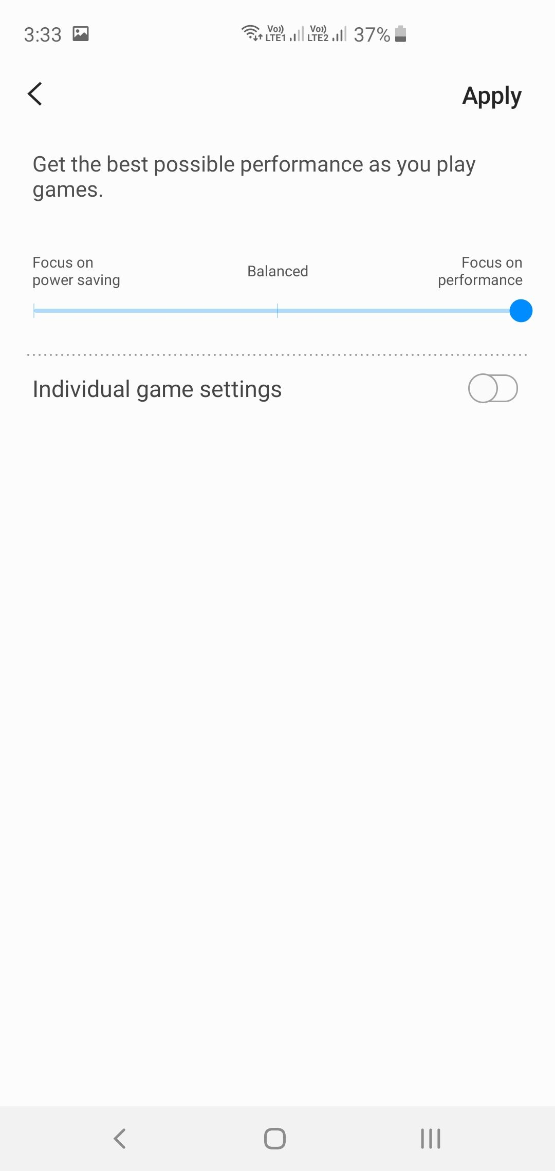 Samsung Galaxy S10+ Game Launcher Performance Settings