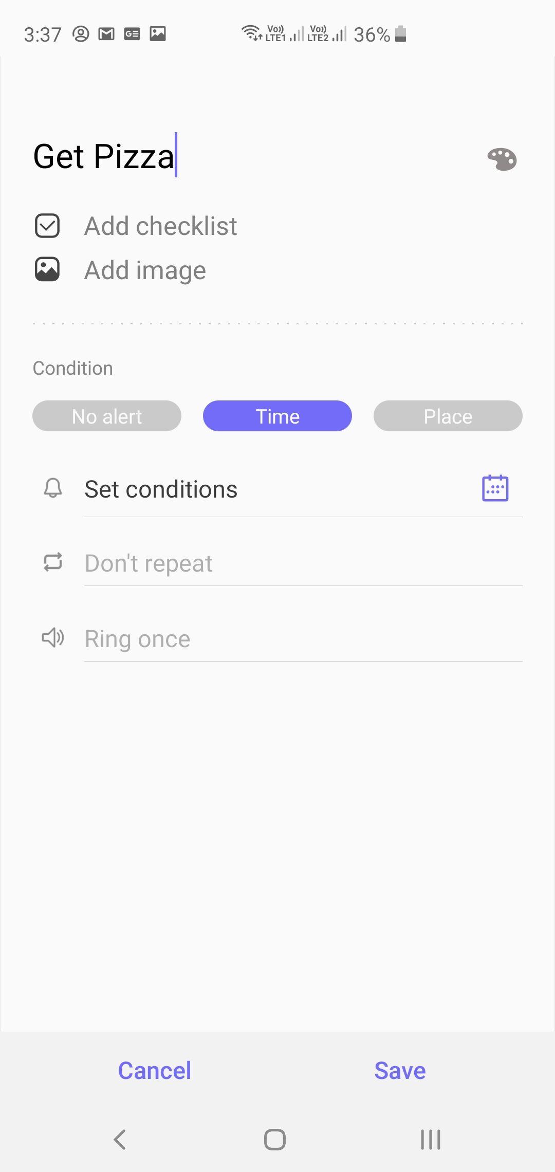 Samsung Galaxy S10+ Reminders App