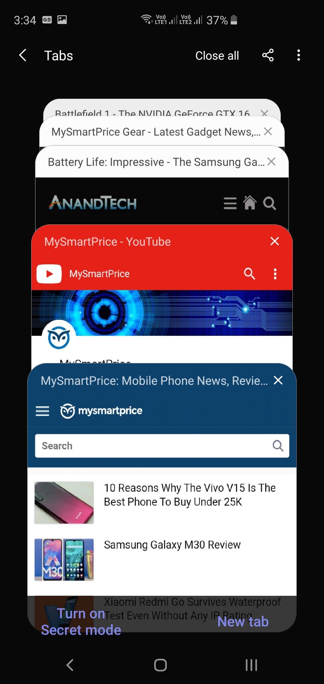 Samsung Galaxy S10+ Samsung Internet App Tabs