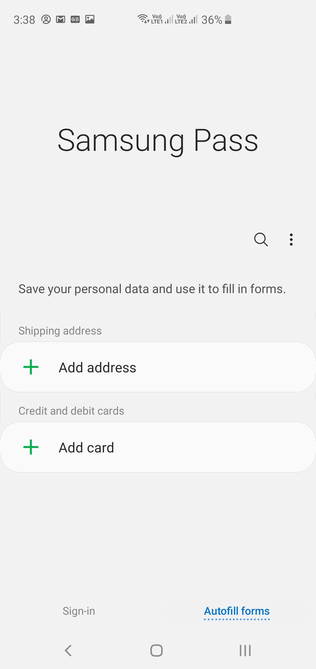 Samsung Galaxy S10+ Samsung Pass App Autofill Forms