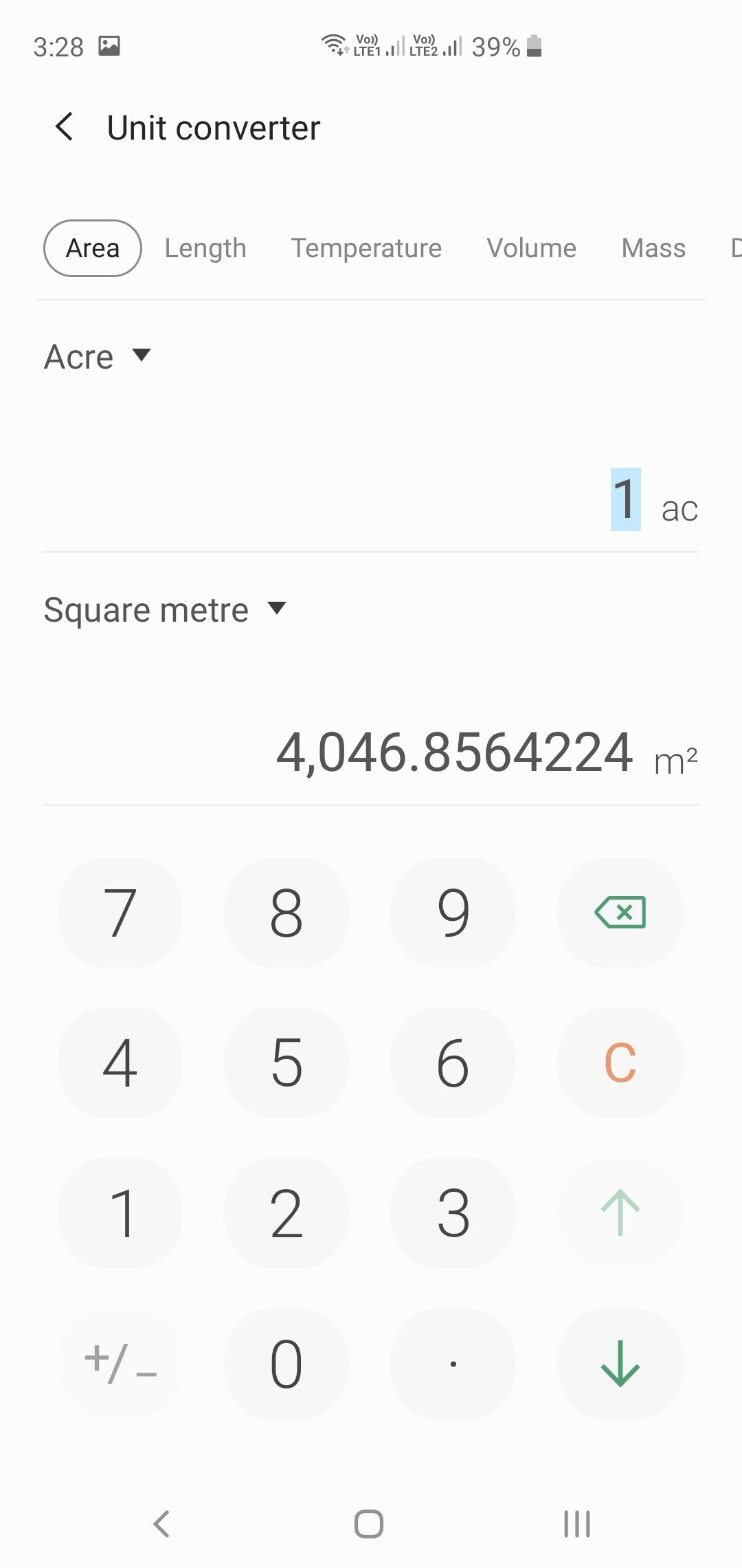 Samsung Galaxy S10+ Calculator Unit Converter