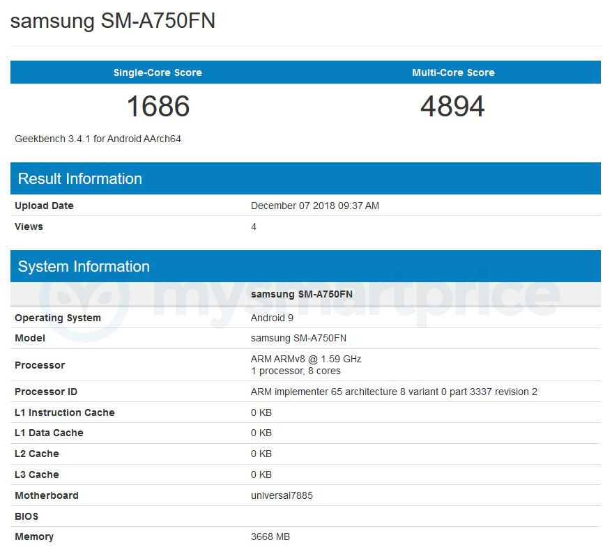 Samsung Galaxy A7 (2018) Caught on Geekbench Running Android