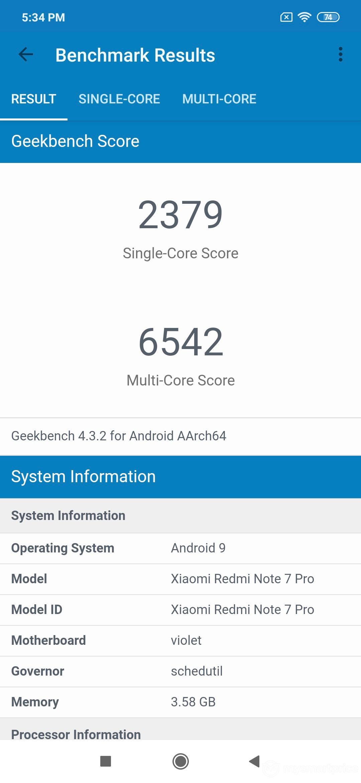Xiaomi Redmi Note 7 Pro CPU Performance Benchmark (GeekBench)