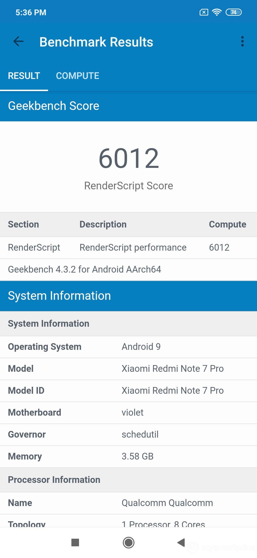 Xiaomi Redmi Note 7 Pro GPU Performance Benchmark (GeekBench)