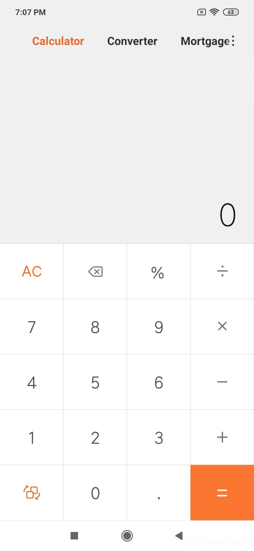 Xiaomi Redmi Note 7 Pro UI Design: Calculator
