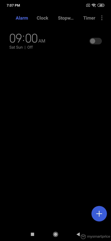 Xiaomi Redmi Note 7 Pro UI Design: Clock