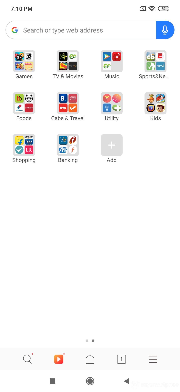 Xiaomi Redmi Note 7 Pro UI Design: Browser