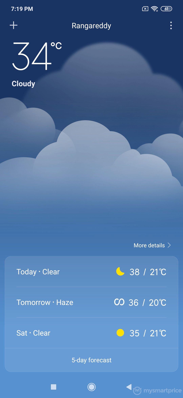 Xiaomi Redmi Note 7 Pro UI Design: Weather