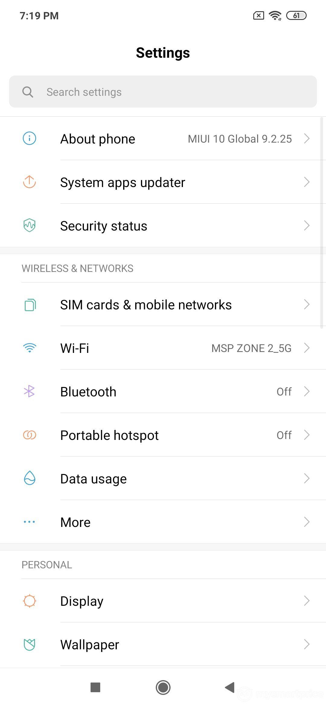 Xiaomi Redmi Note 7 Pro UI Design: Settings (Page 01)