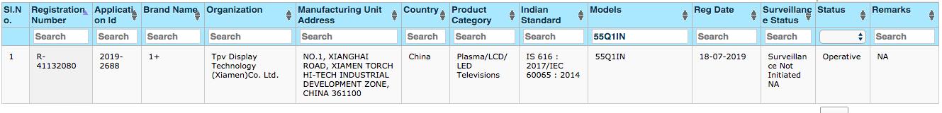 OnePlus TV BIS Certification