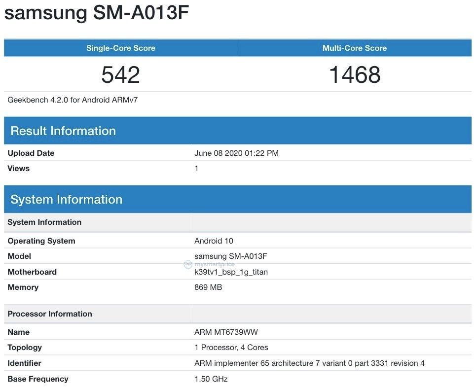 Samsung SM-A013F Geekbench