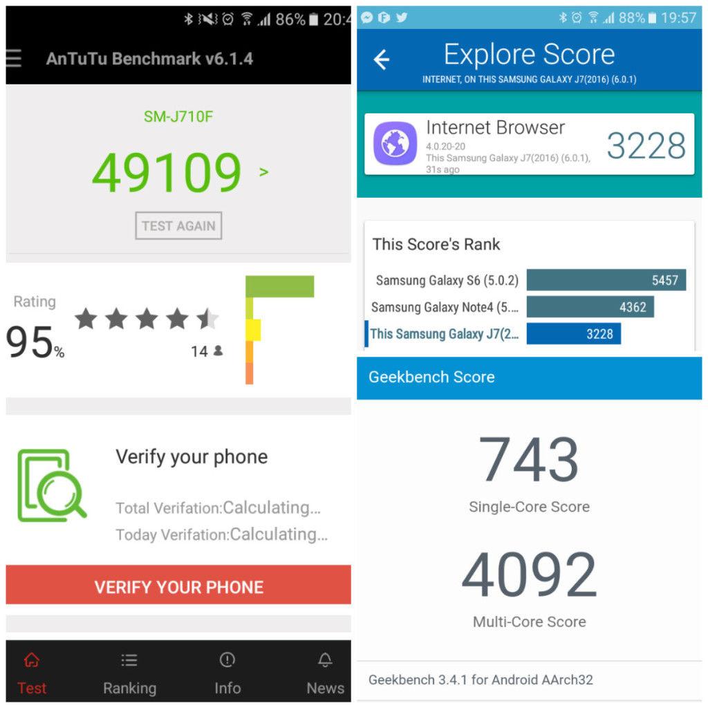 Samsung Galaxy J7 Benchmark Scores