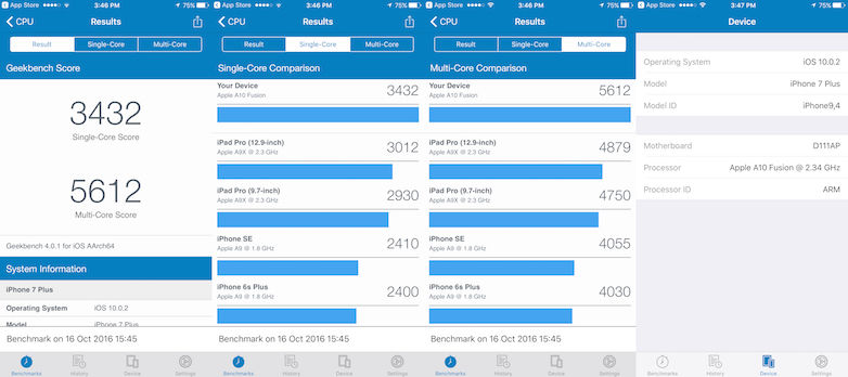 Apple iPhone 7 Plus - GeekBench 4 Score [Aggregated]