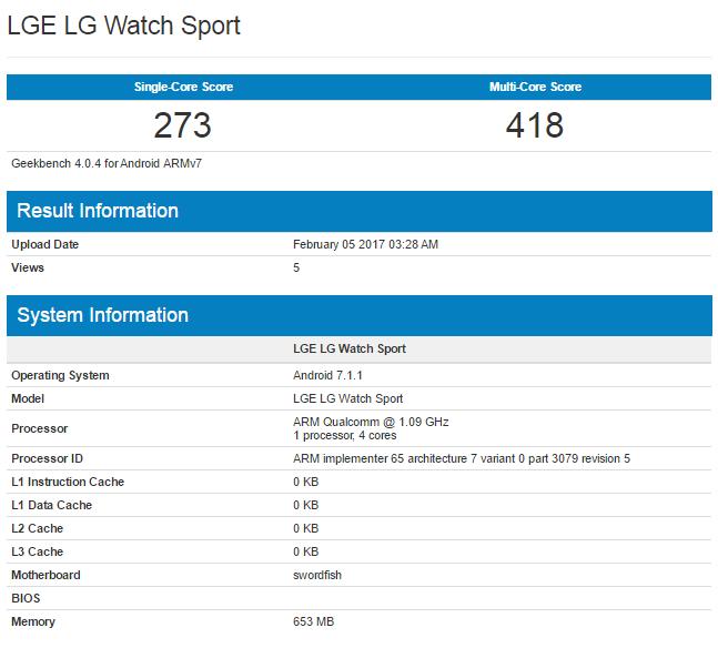 LG Watch Sport Geekbench