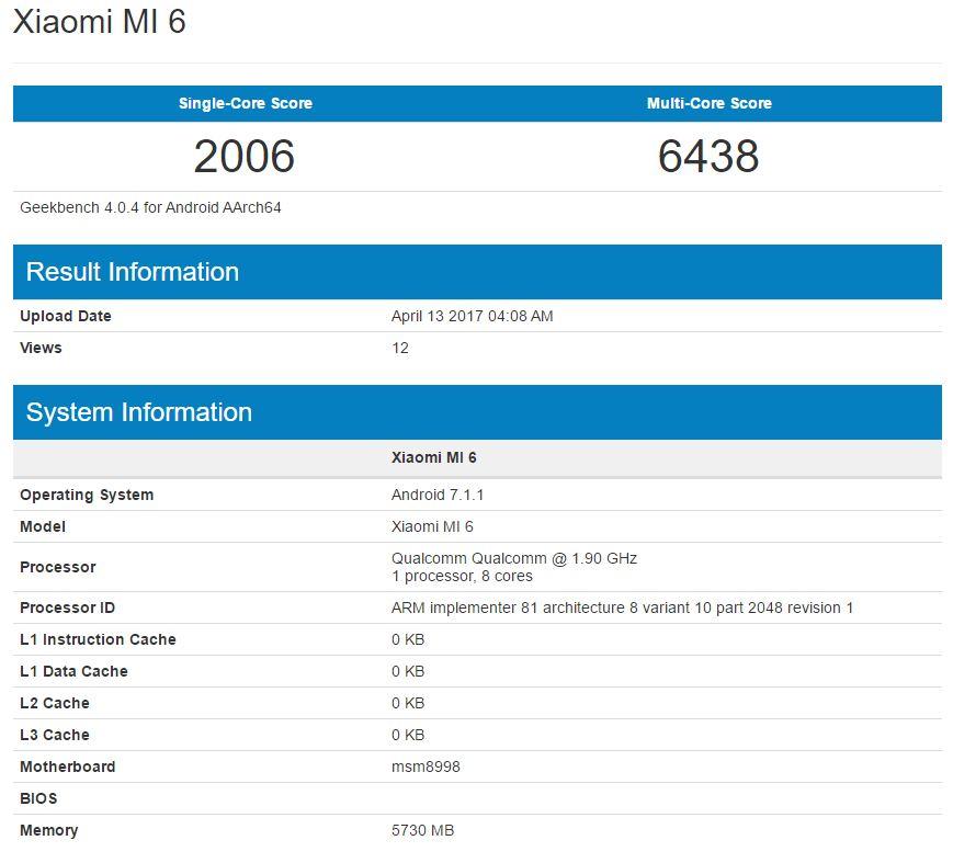 Xiaomi Mi 6 Geekbench scores hint at impressive performance