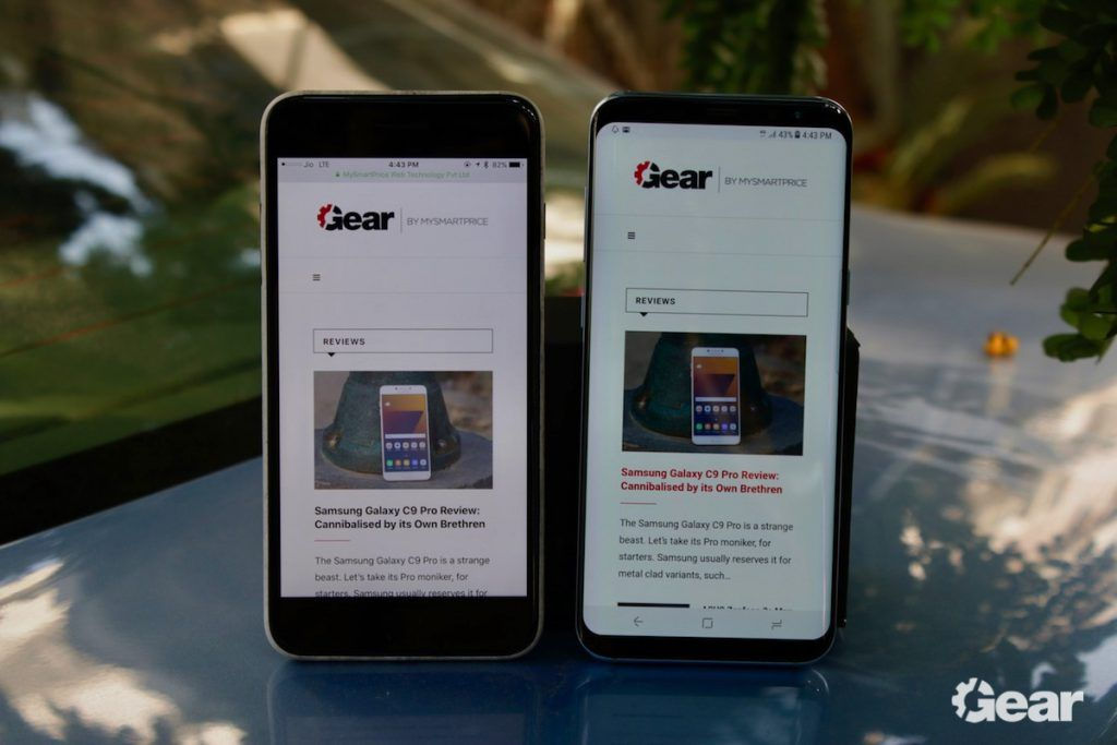 Samsung Galaxy S8 & S8+ Review - Samsung Galaxy S8+ vs. Apple iPhone 7 Plus Screen Size & Bezel Comparison