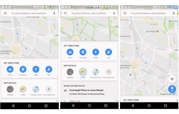 Google Maps' new home screen for Android in India